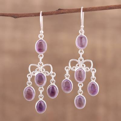 Purple amethyst chandelier earrings from india purple cascade novica amethyst chandelier earrings purple cascade purple amethyst chandelier earrings from india mozeypictures Gallery