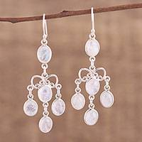 Rainbow moonstone chandelier earrings, 'Iridescent Cascade' - Rainbow Moonstone Chandelier Earrings from India