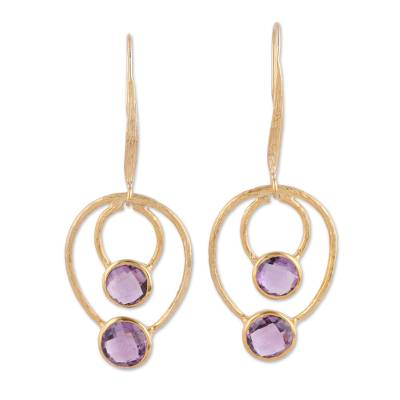 Vermeil and amethyst dangle earrings, 'Lavender Allure' - Gold Vermeil Amethyst Dangle Earrings from India