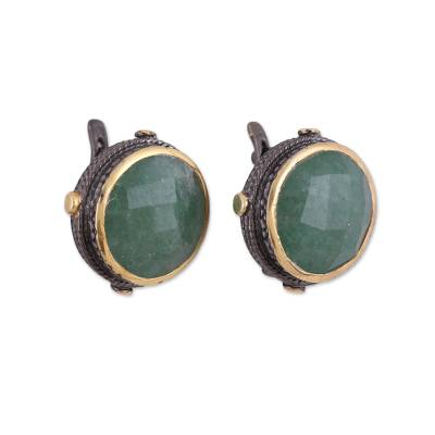 Gold accented aventurine button earrings, 'Radiant Unity' - Gold Accent Aventurine and Sterling Silver Button Earrings