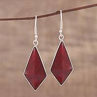 Ruby dangle earrings, 'Crimson Kite' - Handmade Ruby and Sterling Silver Dangle Earrings from India