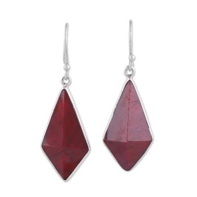 Handmade Ruby and Sterling Silver Dangle Earrings from India
