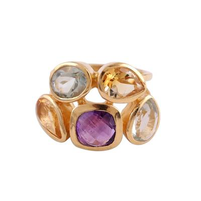 Vermeil multi-gemstone cocktail ring, 'The Five Allures' - Amethyst Citrine and Blue Topaz Gold Vermeil Cocktail Ring