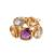 Vermeil multi-gemstone cocktail ring, 'The Five Allures' - Amethyst Citrine and Blue Topaz Gold Vermeil Cocktail Ring (image 2a) thumbail