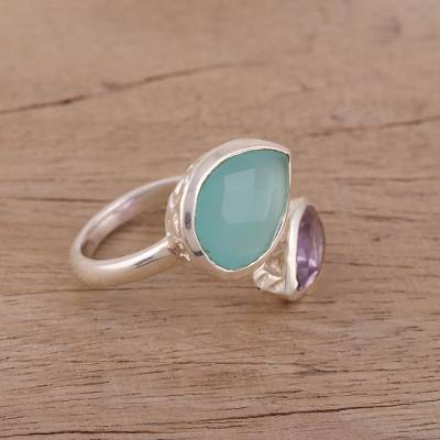 Chalcedony and amethyst wrap ring, 'Luminous Harmony' - Blue Chalcedony and Amethyst Sterling Silver Wrap Ring