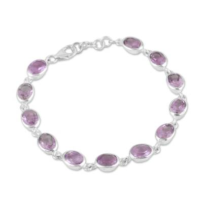 Amethyst link bracelet, 'Lilac Luster' - Amethyst and Sterling Silver Link Bracelet from India