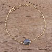 Vermeil labradorite pendant bracelet, 'Mesmerizing Night'