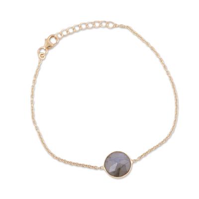 Vermeil labradorite pendant bracelet, 'Mesmerizing Night' - Handmade Vermeil Labradorite Pendant Bracelet from India