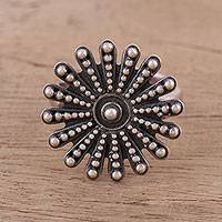 Sterling silver wrap ring, 'Floral Burst' - Handmade Sterling Silver Wrap Ring from India