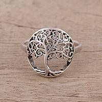 Sterling silver cocktail ring, 'Majestic Jali Tree'