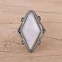 Rainbow moonstone cocktail ring, 'Regal Jewel' - Indian Rainbow Moonstone and Sterling Silver Cocktail Ring
