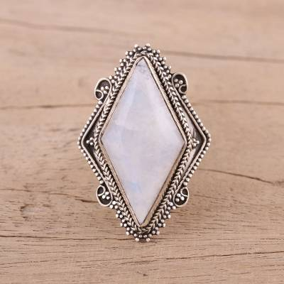 topaz silver ring - Indian Rainbow Moonstone and Sterling Silver Cocktail Ring