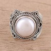 Cultured pearl cocktail ring, 'Pearl Glamour'