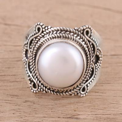 Cultured Freshwater Pearl and Sterling Silver Cocktail Ring