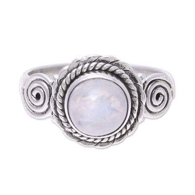 Rainbow moonstone cocktail ring, 'Misty Bloom' - Indian Rainbow Moonstone and Sterling Silver Cocktail Ring