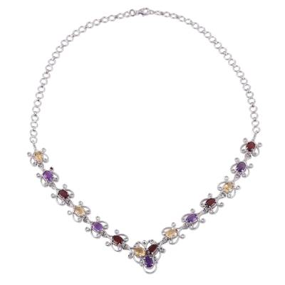 Hand Crafted Multi-Gemstone Link Necklace from India