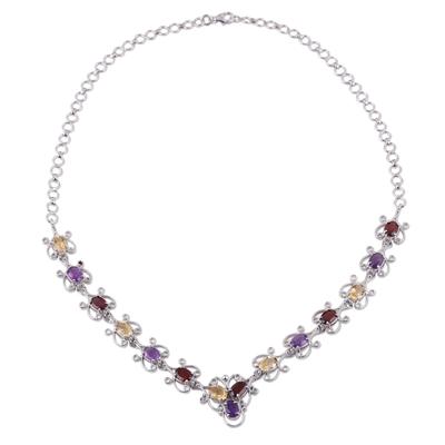 Multi-gemstone link necklace, 'Trinity Grandeur' - Hand Crafted Multi-Gemstone Link Necklace from India