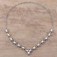 Cultured freshwater pearl link necklace, 'Eternal Grandeur' - Cultured Freshwater Pearl Link Necklace from India