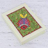 Paper greeting cards, 'Fond Fish' (set of 8) - Fish-Themed Paper Greeting Cards (Set of 8) from India
