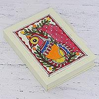 Paper greeting cards, 'Peacock Adoration' (set of 8) - Peacock-Themed Paper Greeting Cards (Set of 8) from India