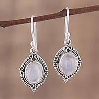 Rainbow moonstone dangle earrings, 'Divine Allure' - Rainbow Moonstone and Sterling Silver Dangle Earrings