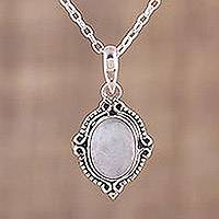 Rainbow moonstone pendant necklace, 'Divine Allure' - Rainbow Moonstone and Sterling Silver Pendant Necklace