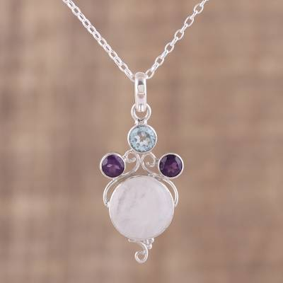 Multi-gemstone pendant necklace, 'Alluring Trinity' - Multi-Gemstone Sterling Silver Pendant Necklace from India