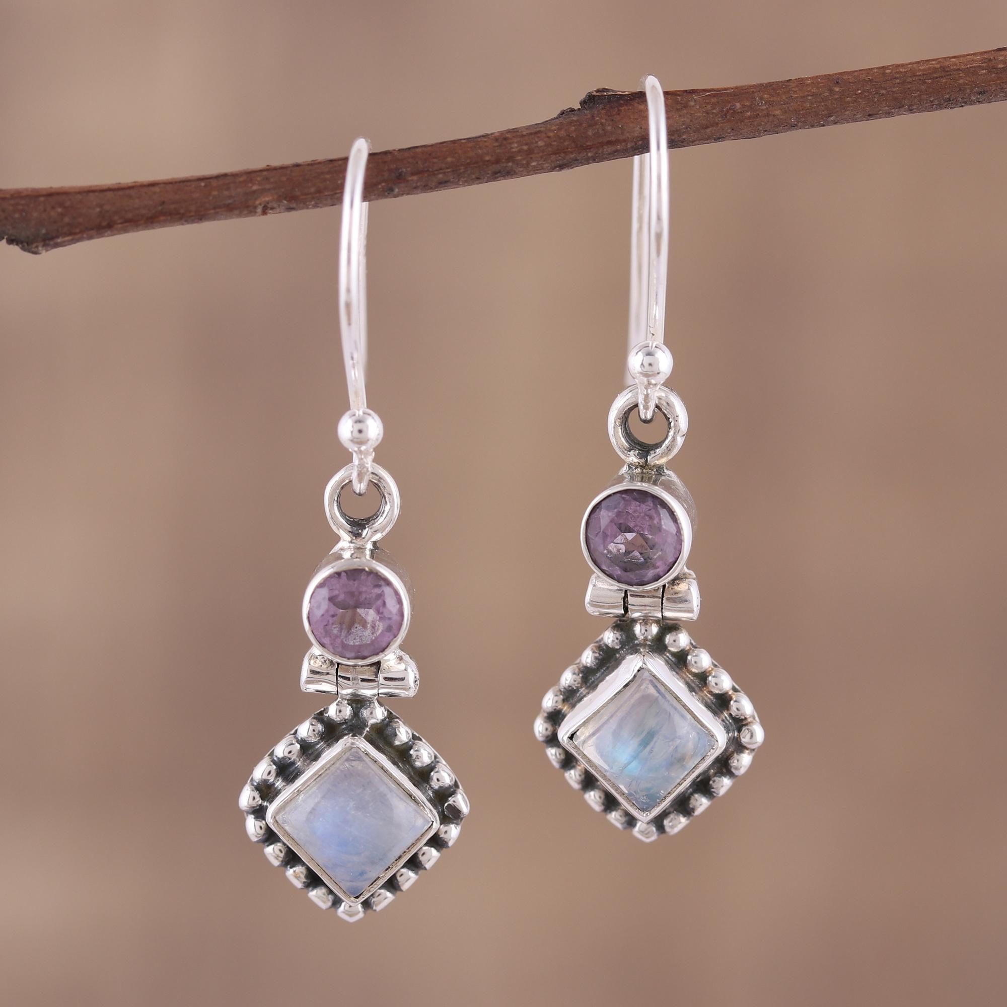 Rainbow moonstone multi stone dangle earrings
