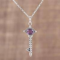 Amethyst pendant necklace, 'Key to Paradise' - Handmade Key Pendant Necklace with Amethyst from India