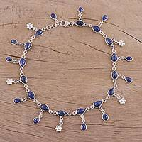 Lapis lazuli anklet, 'Tidal Luster' - Handmade Lapis Lazuli and Sterling Silver Anklet from India