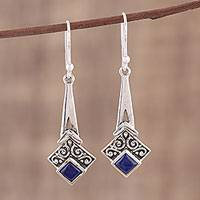 Lapis lazuli dangle earrings, 'Timekeeper' - Lapis Lazuli and Sterling Silver Dangle Earrings from India