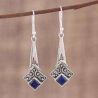 Lapis lazuli dangle earrings, 'Timekeeper' - Lapis Lazuli and Sterling Silver Dangle Earrings from India