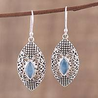 Chalcedony dangle earrings, 'Jali Eyes' - Blue Chalcedony and Sterling Silver Jali Dangle Earrings