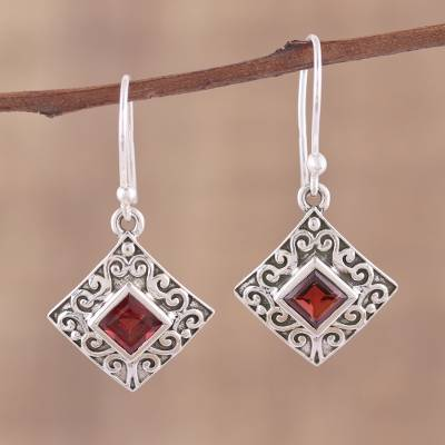 Garnet dangle earrings, 'Everlasting Elegance' - Garnet and Sterling Silver Dangle Earrings from India
