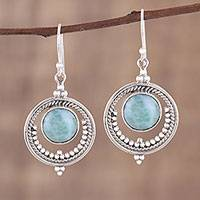 Larimar dangle earrings, 'Lunar Delight' - Larimar and Sterling Silver Dangle Earrings from India