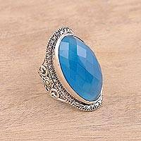Chalcedony cocktail ring, 'Magical Spell' - Sterling Silver Faceted Blue Chalcedony Floral Cocktail Ring