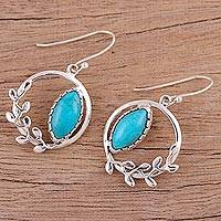 Sterling silver dangle earrings, 'Peaceful Wreaths' - Sterling Silver Reconstituted Turquoise Dangle Earrings