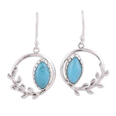 Sterling Silver Reconstituted Turquoise Dangle Earrings