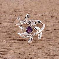 Amethyst cocktail ring, 'Lavender Branches' - 925 Sterling Silver Amethyst Cocktail Ring from India