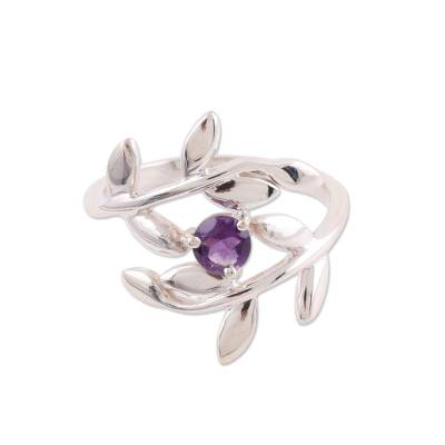 925 Sterling Silver Amethyst Cocktail Ring from India