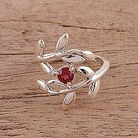 Garnet cocktail ring, 'Crimson Branches' - 925 Sterling Silver Garnet Cocktail Ring from India