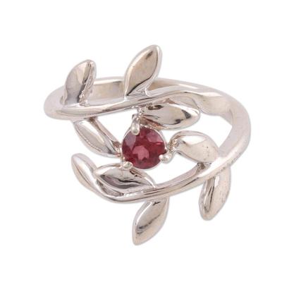 Unique Sterling Silver Leaf Shaped January Birthstone Garnet Ring