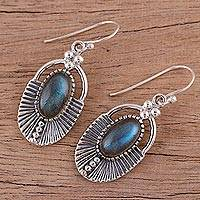 Labradorite dangle earrings, 'Mystic Glamour' - Labradorite Dangle Earrings with Ear Hooks from India