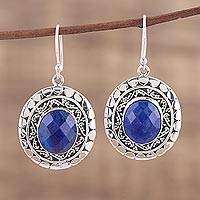 Lapiz lazuli dangle earrings, 'Galaxy Charm' - Blue Faceted Lapis Lazuli Dangle Earrings with Ear Hooks