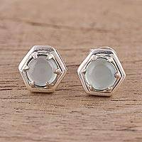 Chalcedony stud earrings 'Aqua Grace' - 925 Sterling Silver Aqua Chalcedony Hexagon Stud Earrings