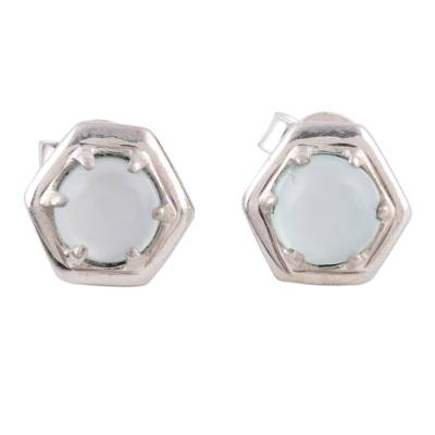 Artisan Crafted Light Blue Chalcedony Stud Earrings