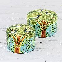 Wood decorative boxes, 'Monsoon Delight' (pair) - Hand Crafted Wood Decorative Boxes Pair from India