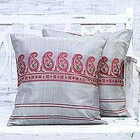 Silk cushion covers, 'Paisley Beauty' (pair) - Set of Two 100% Silk Pillow Cushion Covers in Paisley Motif