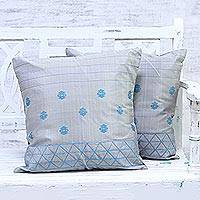 Silk cushion covers, 'Dancing Flowers' (pair) - Grey and Turquoise Silk Cushion Covers (Pair)
