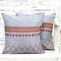 Silk and cotton cushion covers, 'Orange Flavor' (pair) - Grey and Orange Silk and Cotton Paisley Cushion Covers Pair